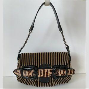 Fendi Striped/Leopard Shoulder Bag w/ Front Buckle